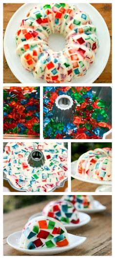 Funny Jelly- 1. Color Cubes: Make gelatin of various colors in low molds and cut it into cubes when set. [1.5 c cold water] 2. White gelatin: add 2 pkts of gelatin in 1/2 cup cold water, add 1 1/2 c boiling water , dissolve and add 1 can of condensed milk. Pour the white gelatin over cubed gelatin. ** WORKED FINE in my Bundt cake pan! ** ALSO, I sprayed my bread pans with Pam and stuck plastic wrap on them and after setting I simply lifted the jelly out and cubed it!
