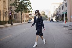Street Style Midi Dress and White Booties