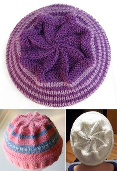 Free Knitting Pattern for Starburst Hat - Decreases create a star shape at the crown of this hat. Sizes Preschool, Child, Adult. Variegated or different colors of yarn create great star effects. Designed by Elizabeth A. Cote who says it is suitable for beginners. Rated very easy by Ravelrers. Pictured projects by wrenknits who modified the decrease to start with K8, K2tog (Row 1), tinpins, and kraalqueenwho started decrease with K9, K2tog (Row 1).