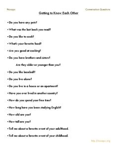 Getting to Know Each Other 4th - 12th Grade Worksheet   Lesson Planet