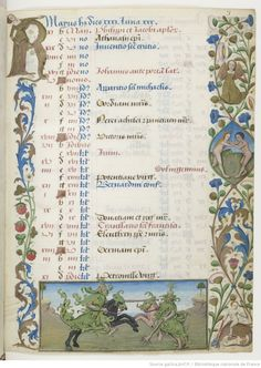 Hours of Charles d'Angoulême - Two jousting knights dressed as wild men. May was often the month chosen to depict a nobleman on horseback practising the art of falconry, against a wilder backdrop than the garden shown in the month of April: an image to which the strange scene shown here of two battling knights wearing nothing but leafy foliage as armour is obviously related. The greenery covering the men's bodies barely hides the hairy skin of these noble jousters