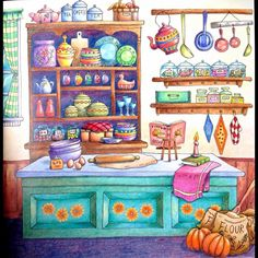 Romantic Country (First Tale) Pumpkin bread from Romantic Country by Eriy. Polychromos pencils. #romanticcountry  #eriy #polychromos
