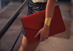 red envelope clutch and arm band