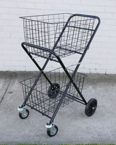 Shopping-Trolley-Double-Basket-w-Swivel-Wheel-Collapsible-Shop-Cart-2-Tier