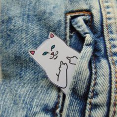 Acrylic-Pin-Badge-White-Swearing-Finger-Cat-Famous-Pocket-Star-for-Clothing-Bags