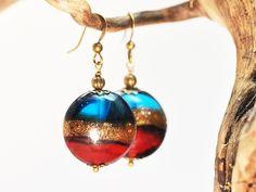Ohrhänger *Sahara* Bronze türkis*gold*rot von Schmuckzucker - handgemachter, individueller Schmuck - Ohrringe, Ketten und mehr auf DaWanda.com