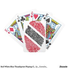 Red White Blue Thumbprint Playing Cards