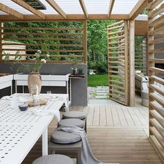60 attached pergola design and features for your dream home 10 Outdoor Pergola, Backyard Pergola, Pergola Shade, Outdoor Rooms, Backyard Landscaping, Outdoor Gardens, Outdoor Living, Outdoor Decor, Pergola Kits
