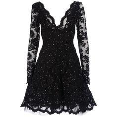 BALENSI 'berenice' dress (95,340 MXN) ❤ liked on Polyvore featuring dresses, vestidos, short dresses, black, women, black v neck dress, long cocktail dresses, long sleeve cocktail dresses, long sleeve dresses and plunging v neck dress