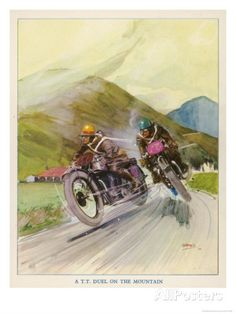 Two Competitors in the Tourist Trophy Race Fight It out Amid the Hills of the Isle of Man Giclee Print by Grimes at AllPosters.com