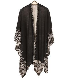 Look at this SUE & KRIS Black Geometric Sidetail Ruana on #zulily today!