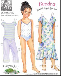 Big Sisters: Kendra paper doll by Patty Reed in Simplicity Patterns of Paper Doll Craft, Doll Crafts, Paper Toys, Paper Crafts, Paper Dolls Printable, Vintage Paper Dolls, Black Paper, Beautiful Children, Paper Mill
