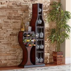 "The ""glass"" holds 8 wine bott.Decorate Now, Pay Later with Country Door Credit! Wine Rack Inspiration, Bar Sala, Bar Deco, Unique Wine Racks, Wine Rack Design, Wine Rack Plans, Pallet Wine, Home Bar Designs, Wine Decor"