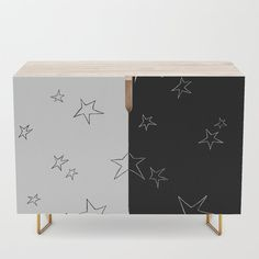 Stars - Black and White Credenza by laec | Society6