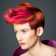 Michelle Vance Hairstyle: Pink, orange, red, and fuchsia hair, pompadour, fauxhawk, colored hair, rainbow hair, fun hair   Goldwell Announces 2013 Color Zoom Challenge US Semi-Finalists   The Colorist Magazine