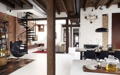 Industrial modern Loft Vieux Montréal combines different textures with stylish aesthetics Old Fire Station Turned into Dashing Modern Industrial Loft in Montreal