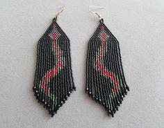 Snake earrings in delica seed beads