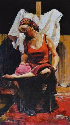 "Artist Marco Ortolan; Painting, ""Gypsy grooming her feet"""