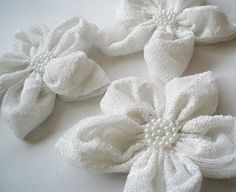 White Textured Tulle Flowers Handmade Appliques by BizimSupplies, $12.00
