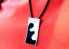 White Black Seashell Sterling Silver Pendant