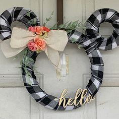 Disney Country Farmhouse Wreath - White and Black Buffalo Plaid with Bead Lined Burlap Ribbon - Spring, Fall, Housewarming, Gift Disney Diy, Disney Crafts, Disney Christmas Decorations, Disney Home Decor, Disney Christmas Crafts, Mickey Mouse Wreath, Holiday Wreaths, Ribbon Wreaths, Yarn Wreaths