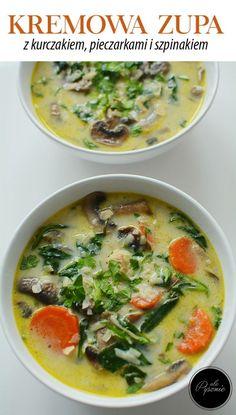Kremowa zupa z kurczakiem, pieczarkami i szpinakiem