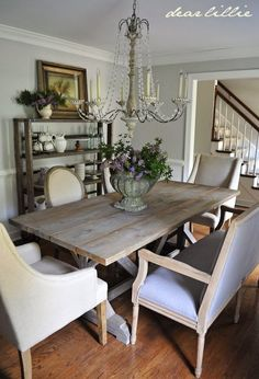 Dear Lillie: Our Updated Dining Room with a New Farmhouse Table and Rolling Shelves - source list with paint colors