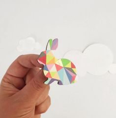 Geometric Rabbit Neon Brooch    Harlequin Bunny by SketchInc, £12.50