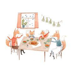 Art, illustration, cute, fox, animals, nature, home