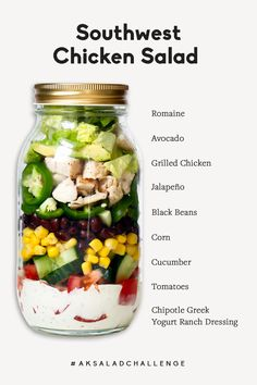 Delicious southwest chicken salad with black beans and corn and paired with an incredible homemade healthy chipotle greek yogurt ranch dressing. This veggie and protein-packed salad is perfect for meal prep!