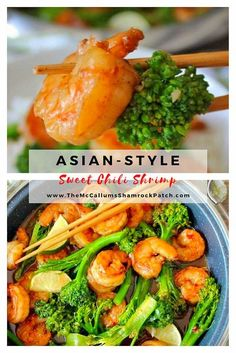 This flavorful Quick and Easy Asian Sweet Chili Shrimp is marinated in a tangy Thai sauce that tastes sweet yet slightly spicy; it is perfect for a busy weeknight dinner when you have 30 minutes or less to get your meal from the stovetop to the table. via @themccallumssha Authentic Chinese Recipes, Easy Chinese Recipes, Easy Dinner Recipes, Asian Recipes, Breakfast Recipes, Healthy Recipes, Ethnic Recipes, Delicious Recipes, Healthy Food
