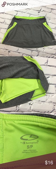 C9 by Champion Running/Tennis Skirt C9 by Champion Running/Tennis Skirt in Gray with Citron Green accent colors and compression shorts.  Pre-owned, excellent condition.  Size: Small/Petite C9 by Champion Skirts