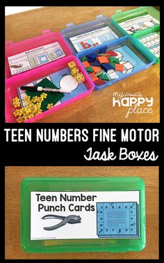 Perfect for morning tubs, busy bins, or early finishers, these teen numbers fine motor skills task boxes focus on the numbers 10-20.