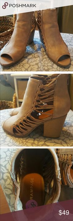Super cute ankle booties suede open toe Super cute ankle booties suede and open toe trade value at $55 Rampage Shoes Ankle Boots & Booties