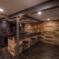 Rustic basement bar with steel beams and wood wall #diy_bar_chair