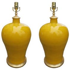Pair of 20th Century Mustard Porcelain Lamps with Custom Gilt Bases $2,650