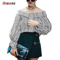 2017 Summer Sexy Women Off Shoulder Blouse Long Sleeve Stripe Black White Blouse Ladies Casual Loose Shirts Tops Casual chemise