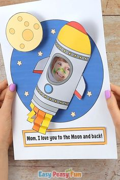 moon Say I love you to the Moon and back with our adorable Rocket Mothers Day Craft, and its a photo craft (or a drawing craft). This cute craft for kids will make a wonderful gift for the upcom Mothers Day Crafts For Kids, Halloween Crafts For Kids, Diy For Kids, Preschool Crafts, Preschool Activities, Fun Crafts, Crafts For Preschoolers, Wood Crafts, Photo Craft