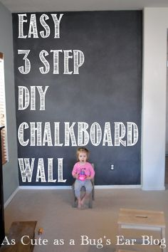 Three step DIY chalkboard wall! Learn how to prep, paint, and cure your new chalkboard paint project in a long weekend. Cheap and Family Friendly!