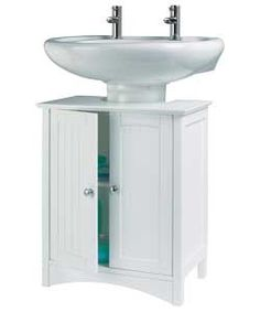 26 66 Homebase White Wood Under Sink Storage Unit Bathroom Toilets Sinks