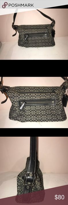 """Coach cloth and leather shoulder bag Coach grey and black """"C"""" print and black leather accent shoulder bag LIKE NEW Coach Bags Shoulder Bags"""