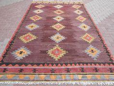 "Antique Anatolia Turkish Classic Antalya Kilim 73,6""x121,2""Area Rug,Kelim,Carpet #Turkish"
