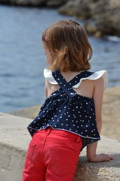 A Bas les Chutes ! Diy For Girls, Sewing For Kids, Polka Dot Top, Bamboo, Creations, Girl Outfits, Magazine, Children, Crochet