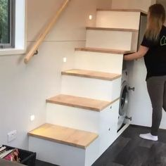 Amazing storage stairs - ideas for woodworking - creative woodworking . - Amazing storage stairs – ideas for woodworking – creative woodworking … # amazi - Unique Woodworking, Woodworking Plans, Woodworking Projects, Popular Woodworking, Woodworking Shop, Stairway Storage, Storage Stairs, Drawers In Stairs, Loft Storage