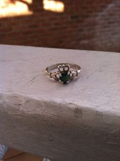 Vintage Sterling Silver claddagh ring Emerald Green Stone Size 10 on Etsy, $23.00