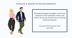 In relationships, applying Hanlon's razor can enable you to shift from assuming bad intention to exploring alternative viewpoints. It may strengthen your relationship as you approach the other person with the desire to understand instead of blame #hanlonsrazor #mentalmodels #relationships #trust #incompetence #ignorance #misunderstanding #laziness #negligence #stupidity #malice #thoughtleaders #futureofwork #learning #knowledge #selfimprovement #personaldevelopment #decisions #future… Bad Intentions, Decision Making, Self Improvement, Cool Things To Make, Personal Development, Leadership, How To Apply, Relationship