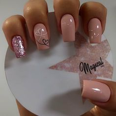Valentine's Day Nail Designs, Square Nail Designs, Natural Nail Designs, Simple Nail Art Designs, Gold Acrylic Nails, Acrylic Nail Powder, Silver Nails, Wow Nails, Cute Nails