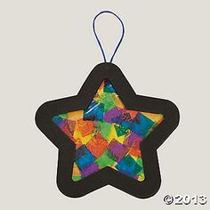 Tissue Paper Star Ornament Craft Kit.  $7 for a dozen.  Easy to replicate.