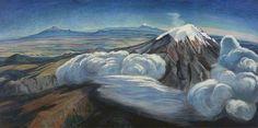 """""""Volcanes"""" (Volcanos), color on masonite, 1952. Dr. Atl"""