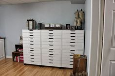 Ikea Alex drawers-tons of storage for stamps, fabric, tools and more.
